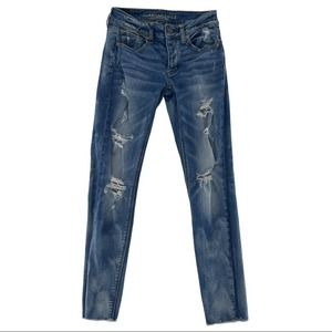 American Eagle Stretch Distressed Skinny Jeans Size 00
